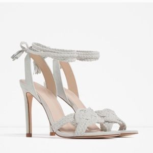 Zara Leather Suede Lace Up Sandal Heels